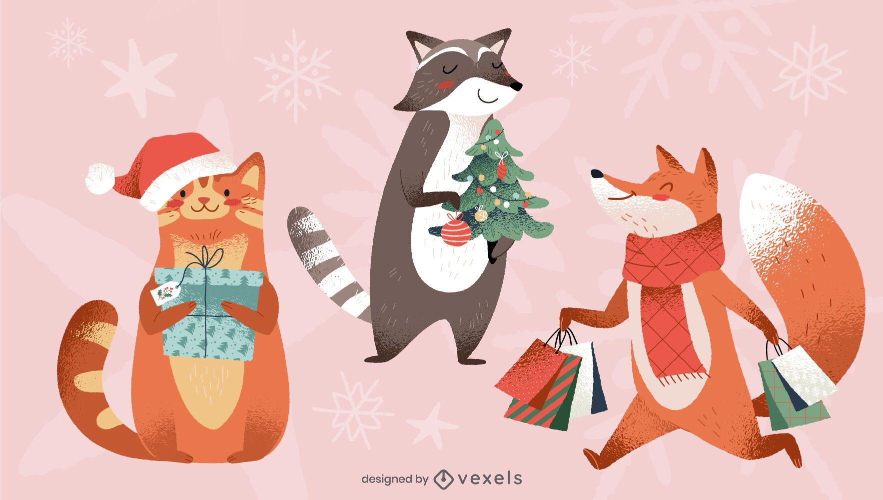 Paquete de ilustraciones de animales navideños