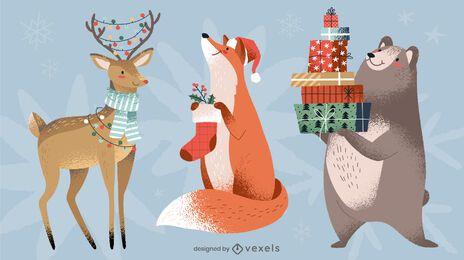 Paquete de diseño de animales navideños