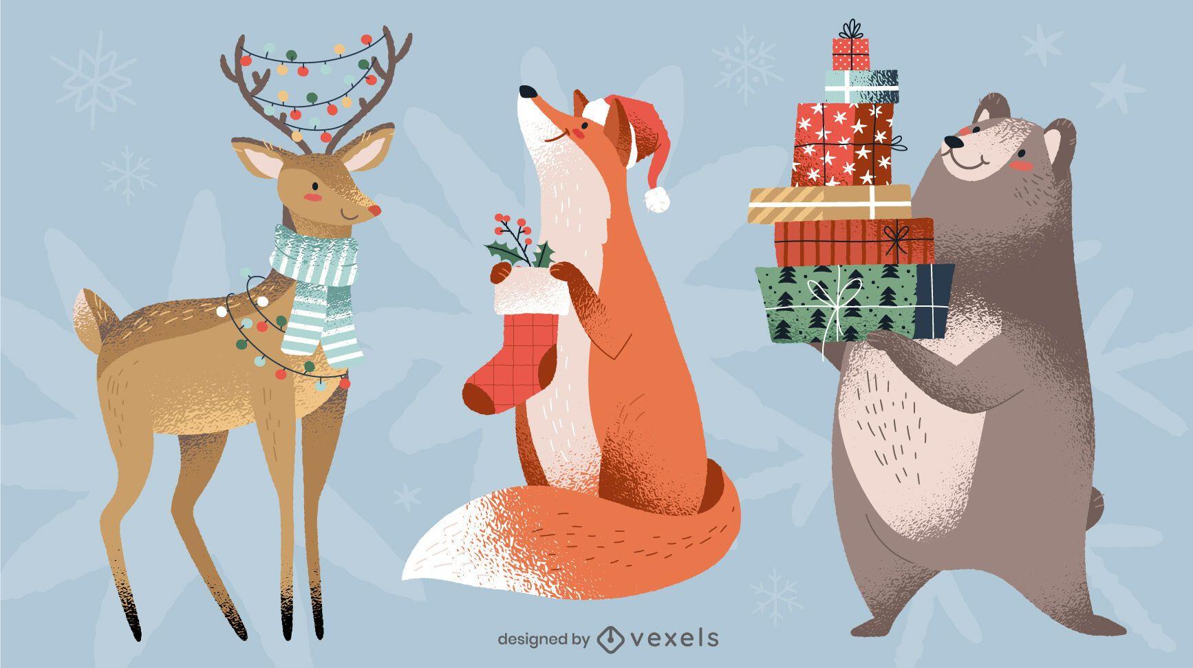 Paquete de dise?o de animales navide?os
