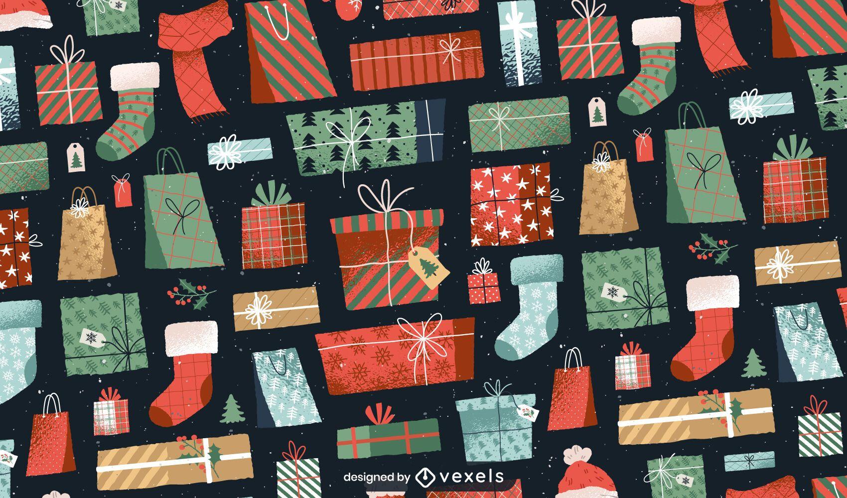 Presenta diseño de patrón navideño.