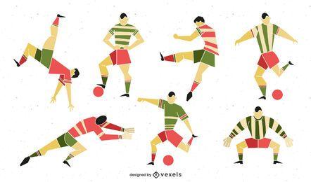Fußballspieler-Pack im geometrischen Stil