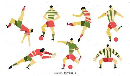 Geometric Style Football Player Pack