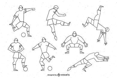 Paquete de personajes de fútbol con trazo geométrico