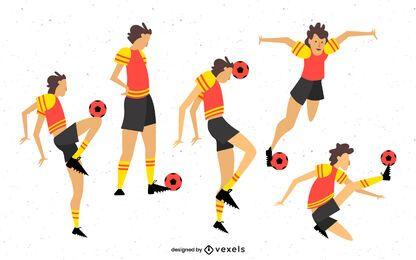 Pacote de personagens de futebol feminino