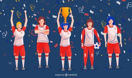 Pacote de pessoas para campeões de futebol feminino