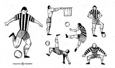 Pacote de design de jogador de futebol monocromático