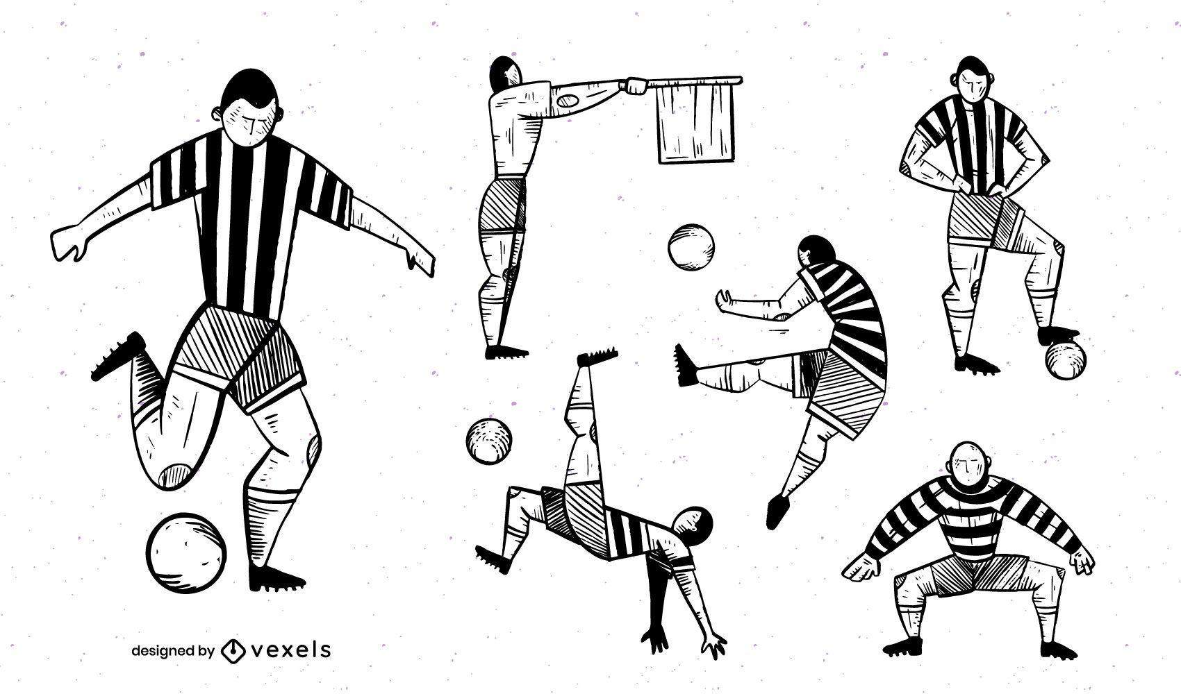 Monochrome Football Player Design Pack