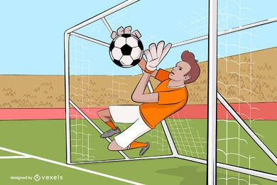 Goalkeeper Sports Cartoon Illustration
