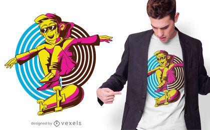 Design de camiseta de macaco skatista