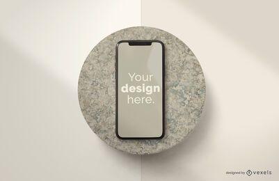 Composición de maqueta de piedra de iphone