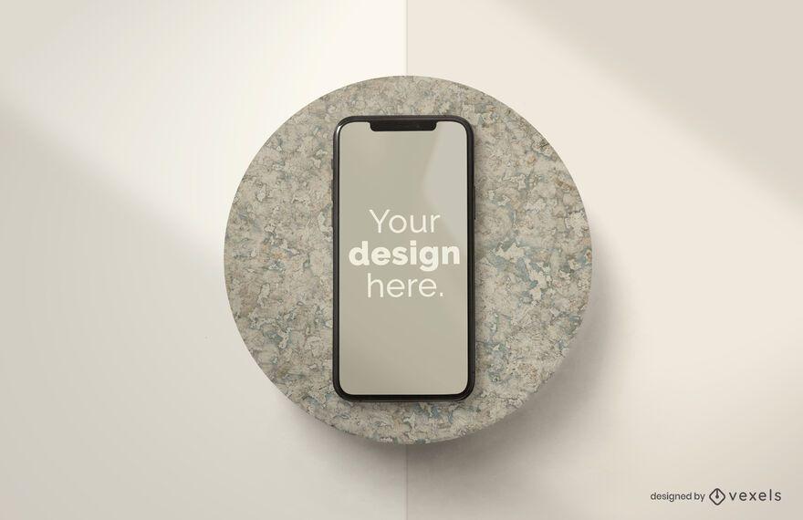Composição de maquete de pedra Iphone
