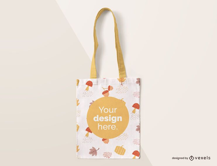 Tote bag autumn mockup