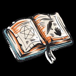Soletrar, livro, dia das bruxas, elemnt, ilustração