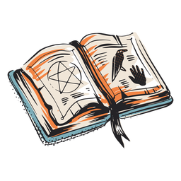 Spell book halloween elemnt illustration