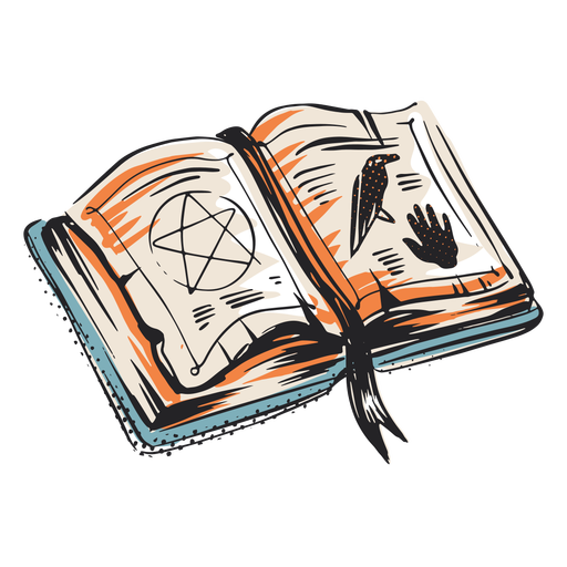 Spell book halloween elemnt illustration