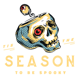 Spookey season scary skull badge