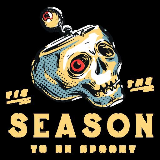 Spookey season scary skull badge