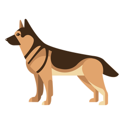 Perro de pastor alemán de pie diseño geométrico