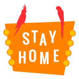 Stay home lettering tropical design