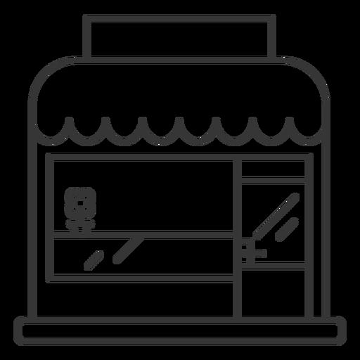 Store building stroke design Transparent PNG