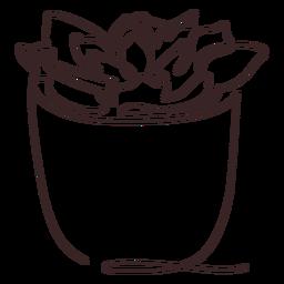 Dibujo de línea de maceta suculenta suculenta