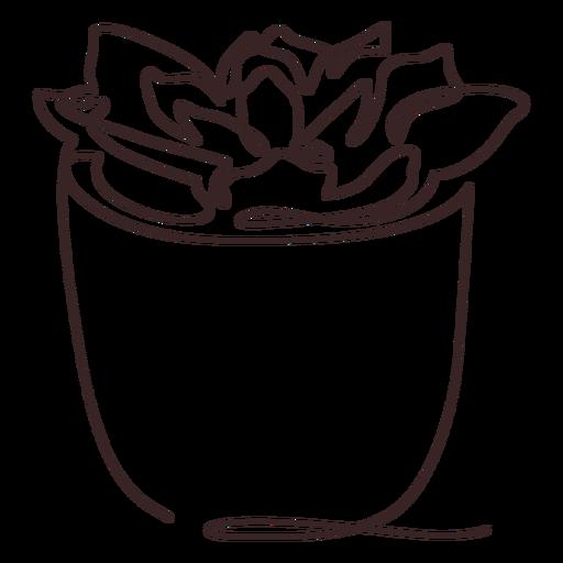 Dibujo de línea de maceta suculenta suculenta Transparent PNG
