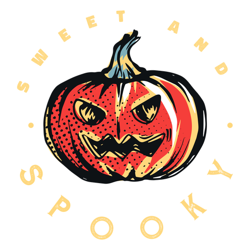 Sweet and spooky pumpkin badge Transparent PNG