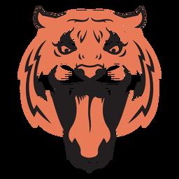 Cabeça de ataque de tigre desenhada