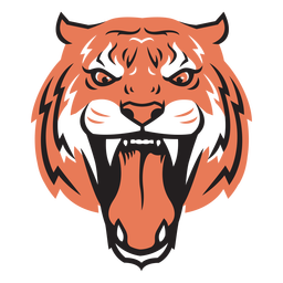 Cabeza de ataque de tigre dibujada a mano