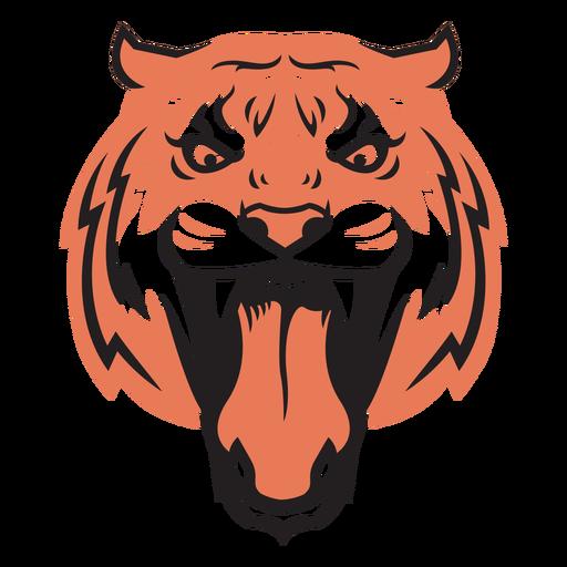 Dibujado a mano cabeza de ataque de tigre