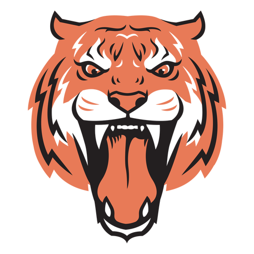 Tiger attack head hand drawn