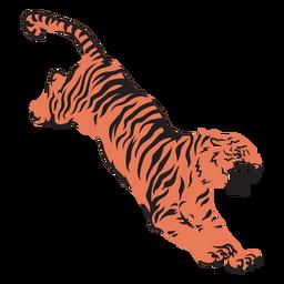 Tigre atacando presa dibujado a mano
