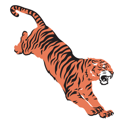 Tiger attacking prey hand drawn