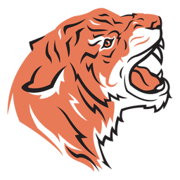 Cabeça de tigre vista lateral mão desenhada
