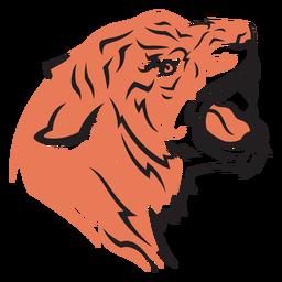 Tiger head side view hand drawn