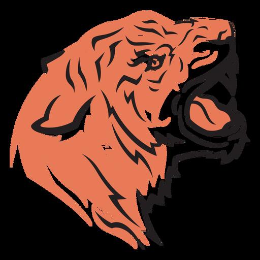 Dibujado a mano cabeza de tigre vista lateral