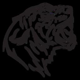 Tigre cabeza vista lateral trazo