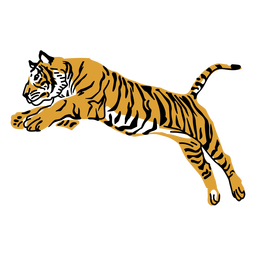 Tiger jumping hand drawn design
