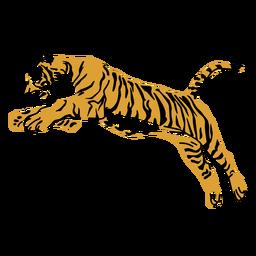 Tigre saltando diseño dibujado a mano