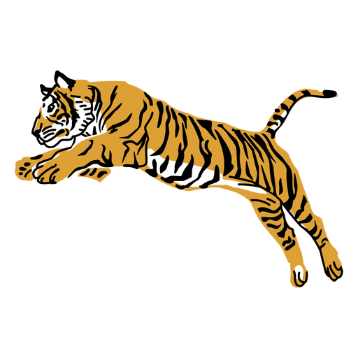 Projeto de mão desenhada tigre pulando Transparent PNG