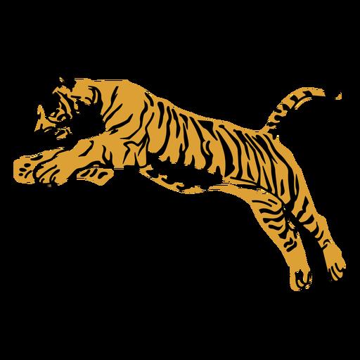 Tigre pulando design desenhado à mão