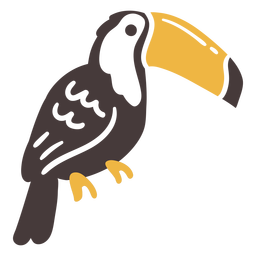 Toucan flying bird sitting doodle