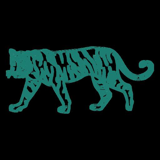 Diseño de aspecto lindo de tigre caminando