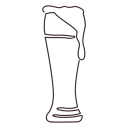 Weizen beer glass line drawing