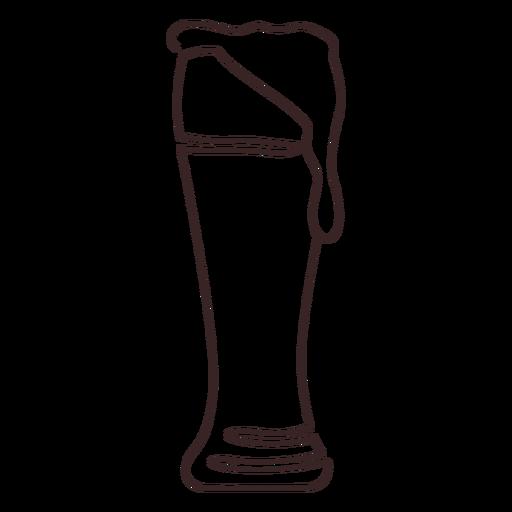 Weizen beer glass line drawing