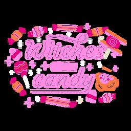 Las brujas consiguen letras dulces de halloween