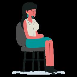 Personagem de mulher sentada na cadeira