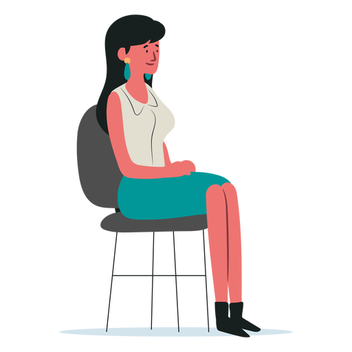 Woman character sitting on chair