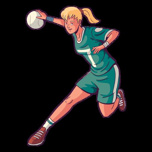 Woman handball player illustration