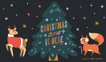 Ilustração de rotulação de tempo de Natal